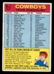1974 Topps Football Team Checklists #7   Cowboys Team Checklist Front Thumbnail