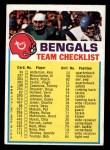 1973 Topps FB Team Checklist #5  Cincinnati Bengals  Front Thumbnail