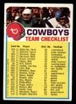 1973 Topps Football Team Checklists #7  Dallas Cowboys  Front Thumbnail