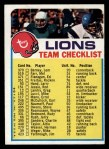 1973 Topps Football Team Checklists #9   Detroit Lions Front Thumbnail