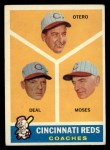 1960 Topps #459  Reds Coaches  -  Reggie Otero / Cot Deal / Wally Moses Front Thumbnail