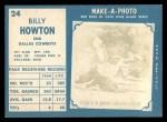 1961 Topps #24   Bill Howton Back Thumbnail