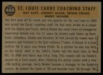 1960 Topps #468  Cardinals Coaches  -  Johnny Keane / Howie Pollet / Ray Katt / Harry Walker Back Thumbnail