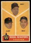 1960 Topps #470  Senators Coaches  -  Bob Swift / Ellis Clary / Sam Mele Front Thumbnail