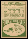 1968 Topps #112   Jerry Stovall Back Thumbnail