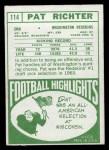 1968 Topps #114   Pat Richter Back Thumbnail
