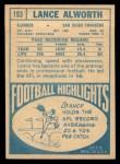 1968 Topps #193   Lance Alworth Back Thumbnail