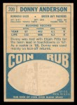 1968 Topps #209  Donny Anderson  Back Thumbnail