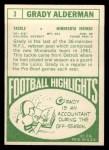 1968 Topps #3   Grady Alderman Back Thumbnail