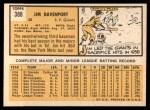 1963 Topps #388 B Jim Davenport  Back Thumbnail