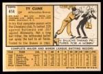 1963 Topps #414   Ty Cline Back Thumbnail