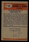 1955 Bowman #12  Dick Alban  Back Thumbnail