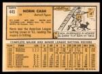 1963 Topps #445 COR  Norm Cash Back Thumbnail