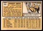 1963 Topps #424  Charley Smith  Back Thumbnail