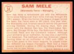 1964 Topps #54  Sam Mele  Back Thumbnail