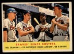 1958 Topps #351  Braves Fence Busters  -  Del Crandall / Eddie Mathews / Hank Aaron / Joe Adcock Front Thumbnail