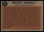 1962 Topps #471  All-Star  -  Mickey Mantle Back Thumbnail