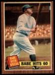 1962 Topps #139 DRT Babe Hits 60  -  Babe Ruth  Front Thumbnail