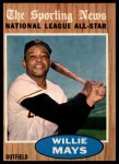 1962 Topps #395  All-Star  -  Willie Mays Front Thumbnail