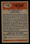 1955 Bowman #43  Tom Fears  Back Thumbnail