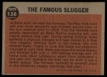 1962 Topps #138 A The Famous Slugger  -  Babe Ruth Back Thumbnail