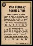 1967 Topps #12  Dodgers Rookies  -  Jim Campanis / Bill Singer Back Thumbnail