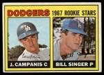 1967 Topps #12  Dodgers Rookies  -  Jim Campanis / Bill Singer Front Thumbnail