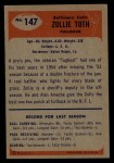 1955 Bowman #147   Zollie Toth Back Thumbnail