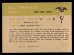 1961 Fleer #213  Bill Shockley  Back Thumbnail