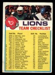 1973 Topps FB Team Checklist #9  Detroit Lions  Front Thumbnail