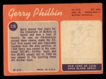 1970 #226  Gerry Philbin  Back Thumbnail