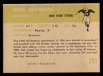 1961 Fleer #211   Dick Jamieson Back Thumbnail