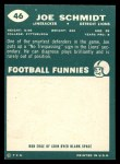 1960 Topps #46   Joe Schmidt Back Thumbnail