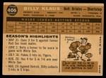 1960 Topps #406   Billy Klaus Back Thumbnail