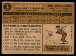 1960 Topps #3   Joe Adcock Back Thumbnail