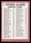 1969 Topps #9  AL Pitching Leaders  -  Denny McLain / Luis Tiant / Dave McNally / Mel Stottlemyre Back Thumbnail