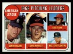 1969 Topps #9  AL Pitching Leaders  -  Denny McLain / Luis Tiant / Dave McNally / Mel Stottlemyre Front Thumbnail