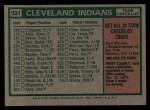 1975 #331   -  Frank Robinson Indians Team Checklist Back Thumbnail