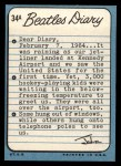 1964 Topps Beatles Diary #34 A John Lennon  Back Thumbnail