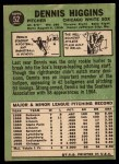 1967 Topps #52   Dennis Higgins Back Thumbnail