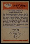 1955 Bowman #58  Bobby Watkins  Back Thumbnail