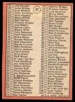 1969 Topps #57 A Checklist 1  -  Denny McLain Back Thumbnail