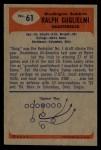 1955 Bowman #61   Ralph Guglielmi Back Thumbnail