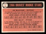 1966 Topps #84  Braves Rookies  -  Jim Beauchamp / Dick Kelley Back Thumbnail