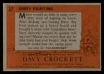 1956 Topps Davy Crockett #37 ORG Dirty Fighting   Back Thumbnail