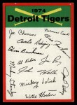 1974 Topps Red Team Checklists #9  Tigers Team Checklist  Front Thumbnail