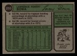 1974 Topps #255   Larry Bowa Back Thumbnail