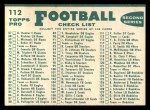 1960 #112   Cardinals Team Checklist Back Thumbnail