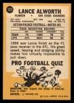 1967 Topps #123   Lance Alworth Back Thumbnail
