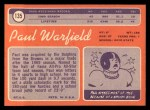 1970 Topps #135   Paul Warfield Back Thumbnail